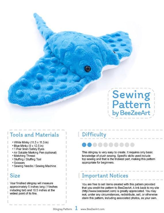 Stingray Plush Sewing Pattern Stuffed Animal Plushie Plushie