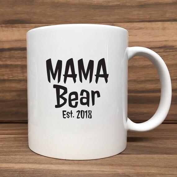 Coffee Mug - Mama Bear with Est. Date - Double Sided Printing 11 oz Mug