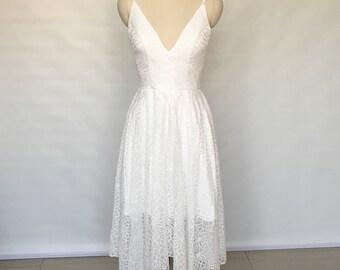 Spaghetti Straps Ivory Lace Asymmetrical Wedding Reception Dress 2018