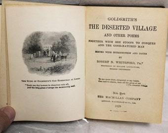 Goldsmith's the Deserted Village and Other Poems Hardcover 1928 Whiteford