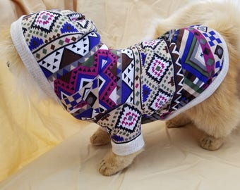Colorful Aztec Print Dog Hoodie