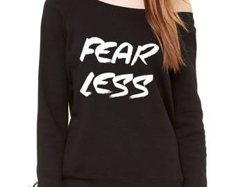 Fear Less Fearless Slouchy Off Shoulder Oversized Sweatshirt
