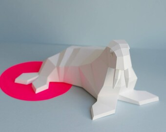 Walrus family, paper DIY project, PDF Ebook version, print yourself