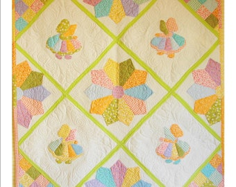 """LITTLE WOMEN, 47 1/2"""" x 47 1/2"""" quilted wall hanging"""