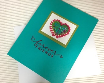 Forever friends card handmade stamped tie-dyed heart friendship bright colorful stationery greeting party paper