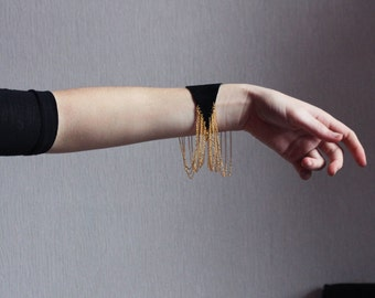Suede and chain bracelet in black