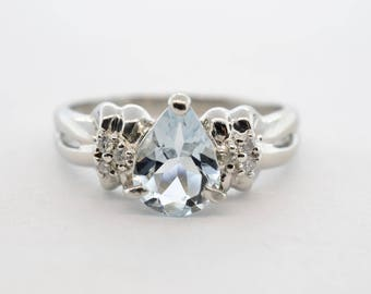 Platinum 1ct Pear Shaped Aqua and Diamond Ring- Size 5.75