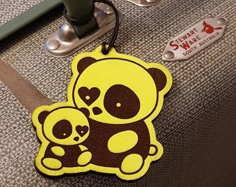 Panda bag tag. Engraved Australian leather.