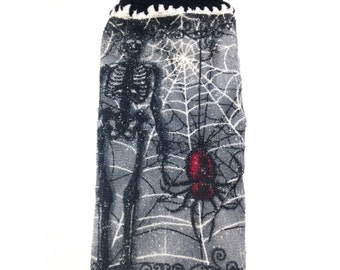 Skeleton And Red Spider Dish Cloth With Black Crocheted Top