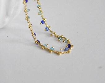 Beaded gold chain 16 k - blue