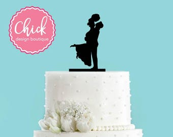 Groom Holding Bride Acrylic Wedding Cake Topper