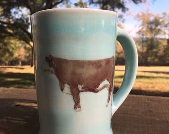 Large Celadon Porcelain Cow Mug