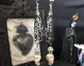 filigree earrings and skulls - witch - dark - gothic - dark - wiccan - classy goth - milagro