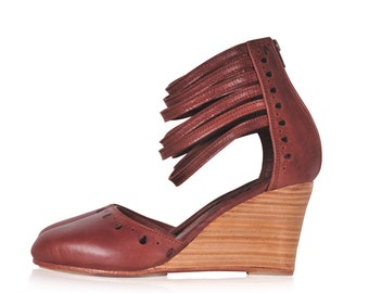 ANATOLIA. Brown leather heels / brown wedges / high heels / leather shoes/ leather wedge. Sizes 35-43. Available in different leather colors