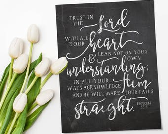 Proverbs 3 5 - Trust In the Lord - Instant Download - Bible Printable - Bible Prints - Chalkboard Printable - Scripture Wall Art - Christian