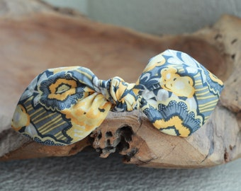 Floral Print Headband in Gray and Yellow Hair Accessories Women Headband Fabric Headband Adult Headband Scarf Headband Mustard Headband