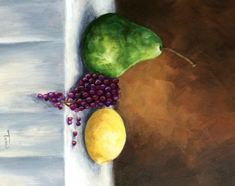 """Another Pear with Lemon and Grapes 5"""" x 7"""" Original Still Life Pear Painting by Torrie Smiley"""