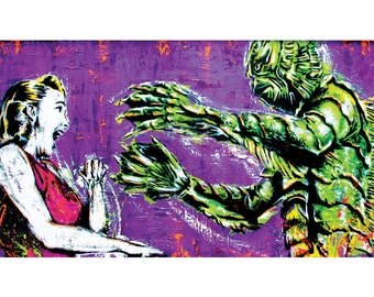 Creature from the Black Lagoon -  18 x 12 High Quality Pop Art Print