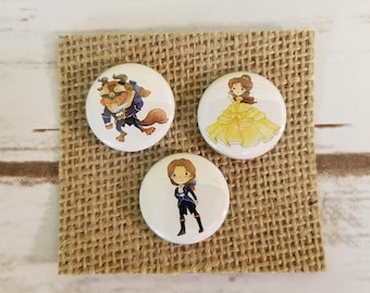 """Beauty and the Beast 1"""" Inch Pin or Magnet Set - BATB - Tale As Old As Time"""