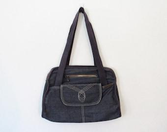 CLEARANCE Jean Purse / Navy Blue Denim Bag / Vintage 70s - 80s Boho Festival Bag