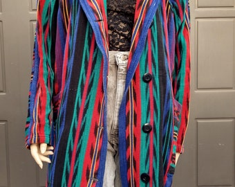 Vtg  Guatemalan Quetzal Woven Duster Coat Jacket Stipes and Ikat