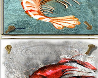 Four Tile Original Art  Louisiana Sea Life Wall Decor