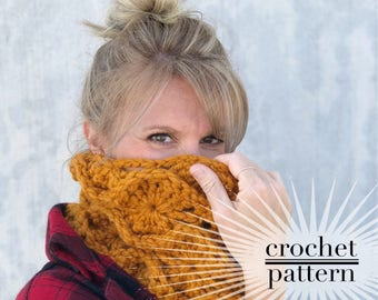 Crochet Cowl Pattern / Crocheted Infinity Cowl / Chunky Circle Scarf / Fire Lily Cowl Pattern