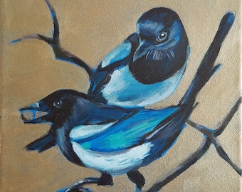 Two Magpies acrylic painting - All that glitters