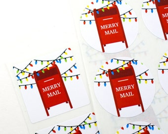 Shop Exclusive - MERRY MAIL - red mailbox with christmas lights - holiday stickers for gift tags, Christmas cards, presents