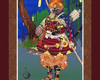 Samurai Fox Fridge Magnet by Victor Bosson, large size 8.65 x 11.5 inches