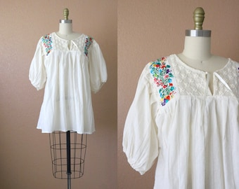 1970's billowy oaxacan embroidered tunic