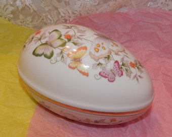 Colorful Butterflies and Vines Meandering around White Porcelain Egg shaped Keepsake Box by Avon