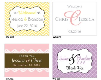 30 - 4x3 Glossy Waterproof Wedding Rectangle / Welcome Bag Stickers - hundreds of designs to choose - change designs to any color or wording