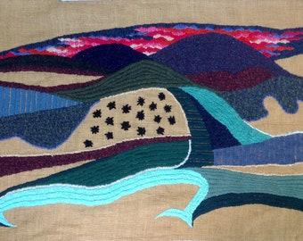 OOAK Tapestry fiber wall art Large Wall Art Hangings Wall Tapestries Wall Decor Large Wall art abstract Landscape Embroidery Tuscany Night