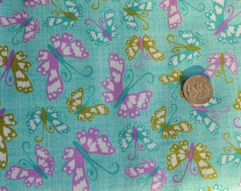 CLEARANCE - Bloom butterflies in turquoise - 1 yard