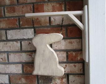 Distressed Wood Folk Spring Rabbit Easter Bunny  Primitive Hanging Decoration Medallion with Hanger