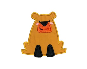 Golden brown boxy bear woodland animal machine embroidered heat press iron on patch for kids clothing, quick shipping appliques