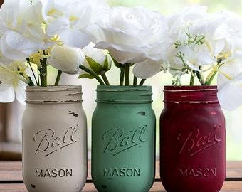 Painted Distressed Mason Jars - Burgundy, Mint, Taupe