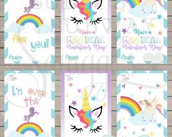 Unicorn Valentine's Day cards, unicorn classroom valentines, girl classroom valentine, rainbow valentine, glitter unicorn, printable