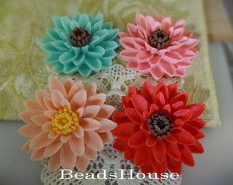 20%off 652-00-CA  4pcs Pretty Classic Big Chrysanthemum Cabochons - Mix Colour