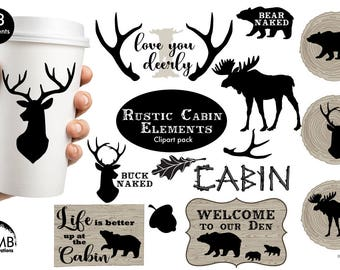 Rustic cabin clipart, Antlers, Bear, Wood, Rustic logs, Lodge decor clipart, AMB-1870