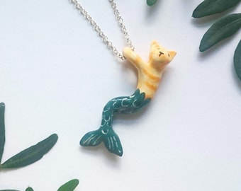 Ginger cat mermaid porcelain pendant necklace, handmade ceramic jewellery, MerAnimal necklace