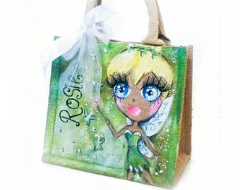 Personalised Tinkerbell Jute Bag/ Personalised Bag/ Personalized bag / Tinkerbell bag / Fairy bag