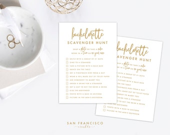 Bachelorette Scavenger Hunt Game   Bachelorette Party Game   Gold   Samantha Collection   Printable, Instant Download PDF file
