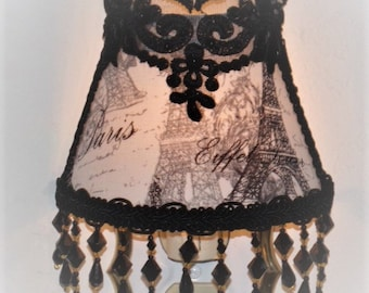 French Eiffel Tower Paris Night Light with Black Sequin Lace Applique and Long Beading