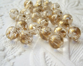 Antiqued 8mm round speckled acrylic gold accented bead lot of (24) - XT97