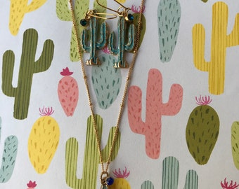 Earring and Necklace Set Saguaro Cactus Charm