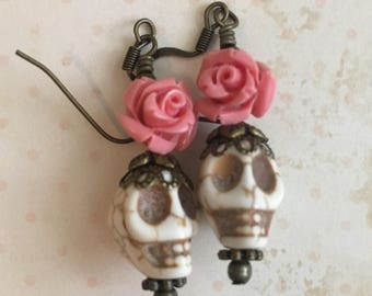 Pink Roses Day of the Dead Earrings