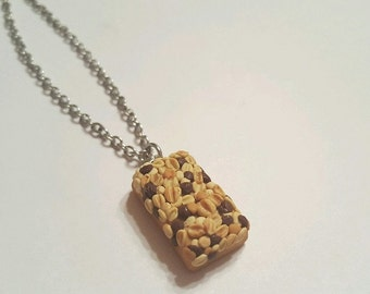Granola Bar Necklace, Polymer Clay Food Jewelry