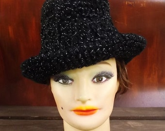 Crochet Hat Womens Hat Trendy, Womens Crochet Hat, Black Hat, Black Sparkle Hat, Trilby Hat, Andy Womens Fedora Hat
